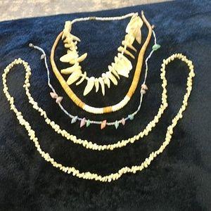 4 piece Shell beach necklace set, EUC